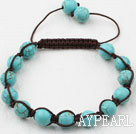 8mm Burst Pattern Turquoise Weaved Shamballa Bracelet with Adjustable Thread