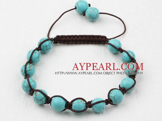 8mm Burst Pattern Turquoise Woven Beaded Drawstring Bracelet with Adjustable Thread