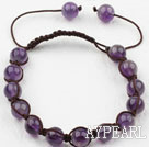 Wholesale 8mm Amethyst Woven Drawstring Bracelet with Adjustable Thread