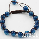 8mm Blue Agate Beaded Woven Drawstring Bracelet with Adjustable Thread