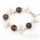 Wholesale white pealr and smoky quartz bracelet with lobster clasp