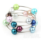 Wholesale 12mm round colorful acrylic beaded bangle