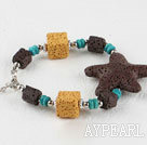 Wholesale lovely style colorful volcanic starfish stone braceet with extendable chain