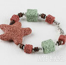 lovely style colorful volcanic starfish stone braceet with extendable chain