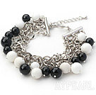 Black Series Round Black Agate and White Porcelain Stone Bracelet with Metal Chain