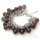 Wholesale Brown Series 10mm Round Smoky Quartz Bracelet with Metal Chain