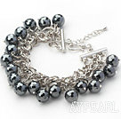 Wholesale Black Series Round Black Tungsten Steel Stone Bracelet with Metal Chain