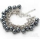 Black Series Round Black Tungsten Steel Stone Bracelet with Metal Chain