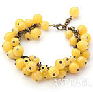 Yellow Series Round Yellow Jade Bracelet with Bronze Chain