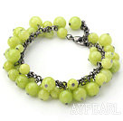 Apple Green Series Round Green Jade Bracelet with Bronze Chain