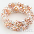 Wholesale White Pink and Purple Freshwater Pearl Wrap Bangle Bracelet