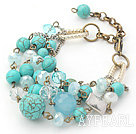 Wholesale Green Series Turquoise and Kyanite and Clear Crystal Bracelet with Bronze Chain