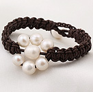 Delicate Popular Natural White Freshwater Pearl Hand-knitted Leather Bracelet