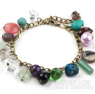 Assorted Multi Color Multi Stone armbånd med bronse Chain