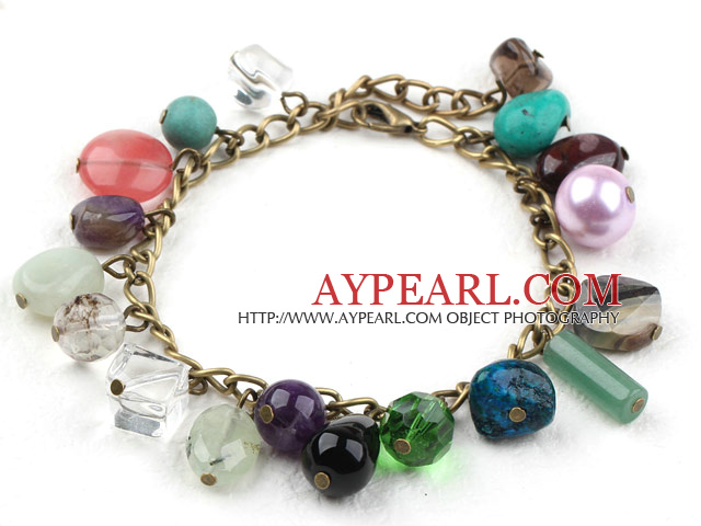Assorted Multi Color Multi Stone Bracelet with Bronze Chain