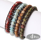 Fashion Style 4pcs Single Strand Natural Gemstsone Beaded Leather Bracelet