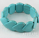Wholesale stretchy 20*25mm heart shape turquoise bangle bracelet