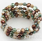 Wholesale Multi Color Freshwater Pearl Wrap Bangle Bracelet