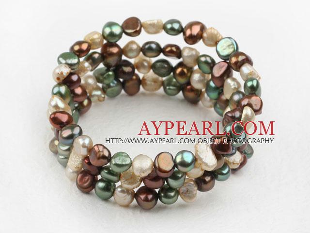 Multi Color Freshwater Pearl Wrap Bangle Bracelet