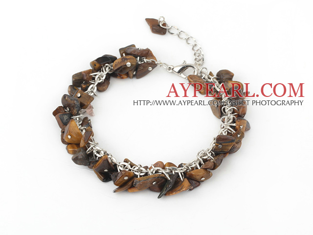 Pretty Loop Chain Style Tiger Eye Chips Bracelet With Lobster Clasp