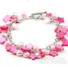 Wholesale Hot Pink Series Pink Pearl and Shell Flower Bracelet with Metal Chain