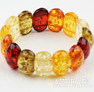 Multi Color Oäkta Amber Elastic Bangle Armband