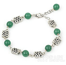 aventurine and tibet silver beaded bracelet with extendable chain