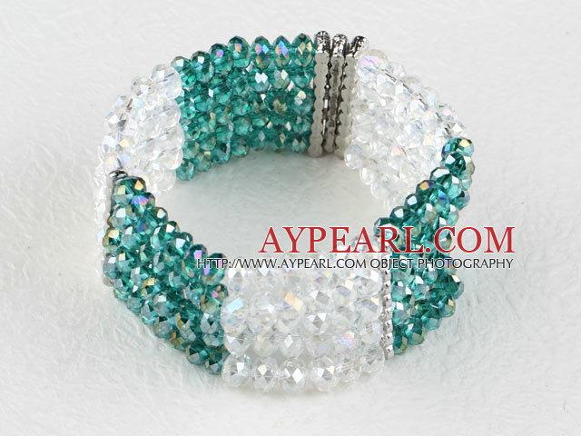 Multi Strand Green and White Manmade Crystal Elastic Bangle Bracelet
