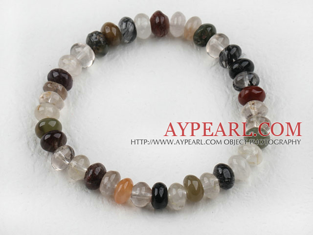 Fashion 6*9Mm Multi Color Rutilated Quartz Elastic Stretch Bangle Bracelet