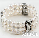 8-9Mm Multi Strand Natural White Fresh Water Pearl Elastic Bracelet