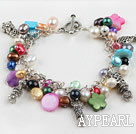 Beautiful Loop Chain Style Multi Color Pearl Shell With Metal Charm Accessories Bracelet