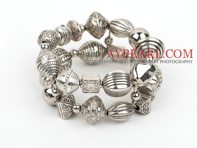 Fashion Acrylic Imitation Ccb Silver Like Engraved Charm Bracelet