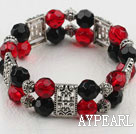Fashion Red And Black Crystal Elastic Stretch Charm Bracelet