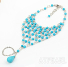 Fashion Round And Teardrop Blue Turquoise Loop Chain Fish Net Ring Bracelet