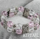 Fashion White And Pink Crystal Elastic Stretch Charm Bracelet