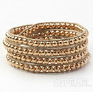 Fashion Style Golden Color Round Copper Beads Woven Wrap Bangle Bracelet with Gray Wax Thread