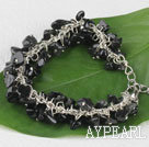 Wholesale 7.5 inches black stone chips beaded bracelet with extendable chain