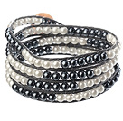 Fashion Style Round Black Glass Beads Woven Wrap Bangle Bracelet with Black Wax Thread