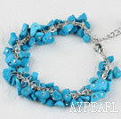 Wholesale 7.5 inches blue turquoise chips beaded bracelet with extendable chain