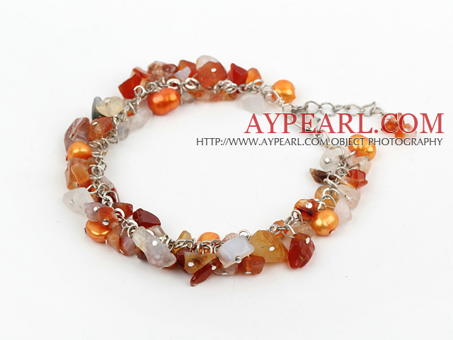 dyed pearl and natural agate bracelet with extendable chain