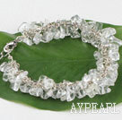 Wholesale 7.5 inches clear crystal chips beaded bracelet with extendable chain
