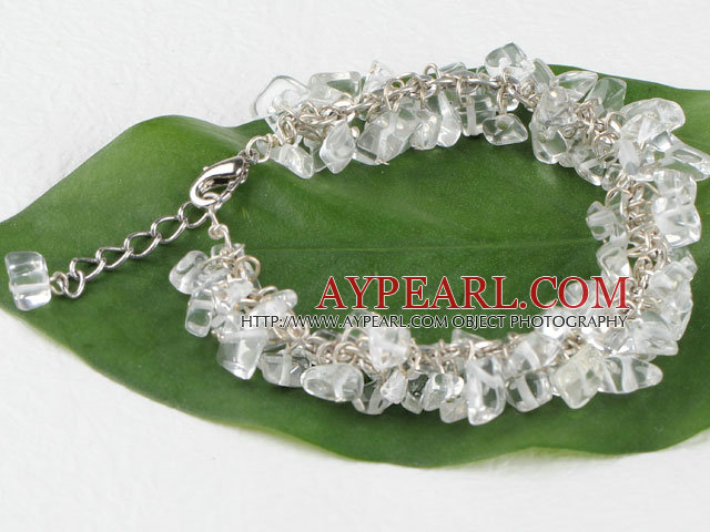 7.5 inches clear crystal chips beaded bracelet with extendable chain