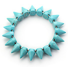 Wholesale Simple Style Blue Green Color Turquoise Punk Bullet Stretch Bangle Bracelet