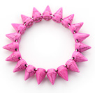 Simple Style Hot Pink Color Turquoise Punk Bullet Stretch Bangle Bracelet