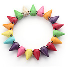 Wholesale Simple Style Multi Color Turquoise Punk Bullet Stretch Bangle Bracelet