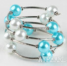 Wholesale 7.5 inches white and sea blue 12mm shell beads bangle bracelet