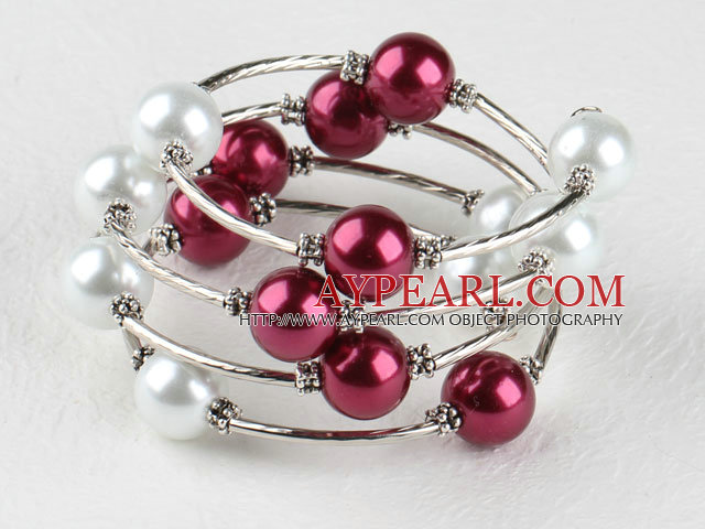 7.5 inches white and purple 12mm shell beads bangle bracelet