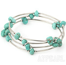 Simple Style 8*12Mm Multi Blue Turquoise Wrap Wired Bangle Bracelet