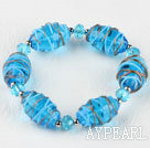 elastic 7.5 inches blue colored glaze and crystal bracelet 