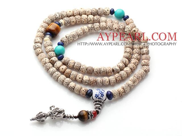 Vintage Style Multi Strands Leaves the Bodhi Lapis Turquoise Tiger Eye Beads Elastic Rosary/Prayer Bracelet